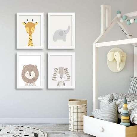 17- O quadro de quarto de bebê foi pendurado na altura dos olhos da criança. Fonte: Ideias Decor Quadros