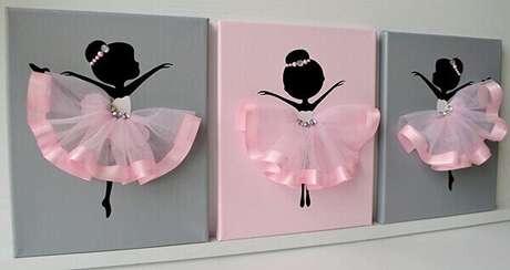 25- Na decoração cinza e rosa, o quadro para quarto de bebê feminino foi confeccionado com bailarinas de saiote de tecido. Fonte: Pinterest