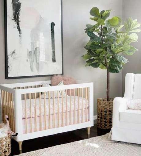 55- O quadro para quarto de bebê abstrato compõe a decoração moderna. Fonte: Project Nursery