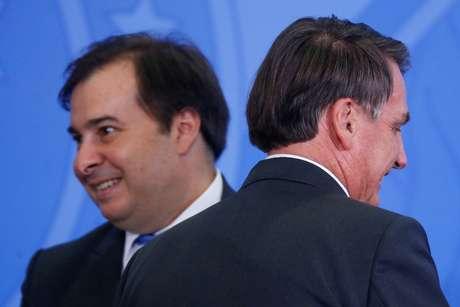 Presidente da Câmara dos Deputados, Rodrigo Maia, e presidente Jair Bolsonaro no Palácio do Planalto 11/02/2020 REUTERS/Adriano Machado