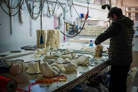 Linha de produção de máscaras