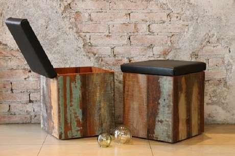 67. Banco de madeira baú rústicas são excelentes opções para qualquer ambiente – Foto: Via Pinterest