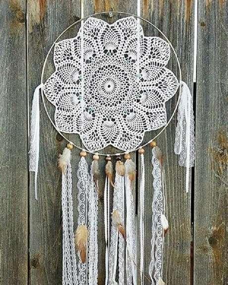 47. Filtro dos sonhos feito em crochê – Foto: Pinterest