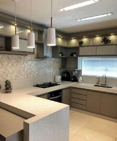70. Pendente branco para cozinha planeja cinza e branca – Foto: Pinterest