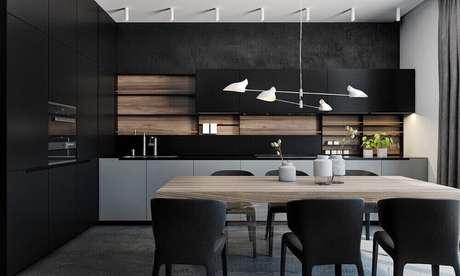 39. Pendente para bancada de cozinha com estilo moderno e sofisticado