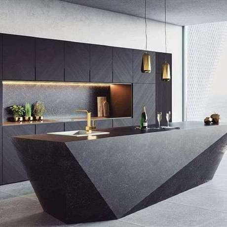 22.Sofisticada e moderna decoração com pendentes para cozinha com ilha preta com design arrojado