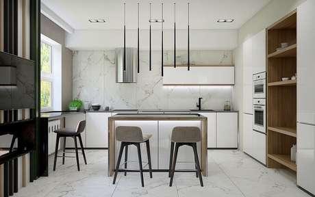 49. Para uma decoração moderna e minimalista esse modelo de pendente para cozinha preto são perfeitos