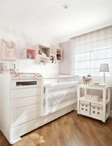 33. Nichos para decoração de quarto de bebê rosa e branco – Foto: ArchZine
