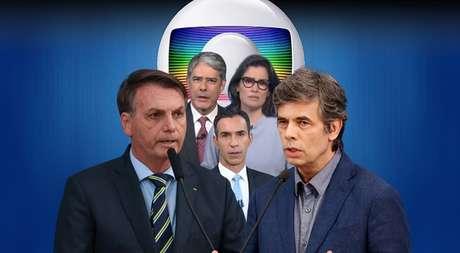 Bolsonaro e Teich à frente dos globais William Bonner, Renata Vasconcellos e César Tralli: o presidente e a imprensa travam batalha paralela à guerra contra a covid-19