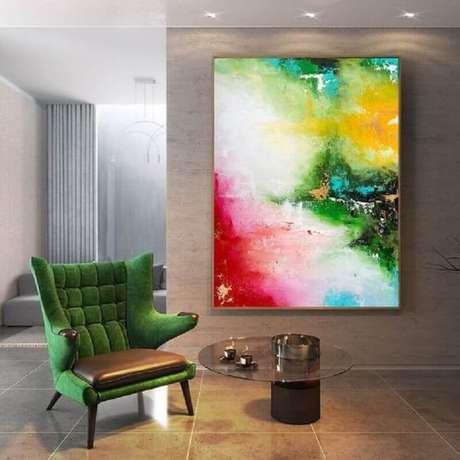 11. Os quadros abstratos coloridos são capazes de mudar totalmente a decoração de um ambiente – Foto: Pinterest