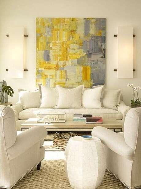 28. Quadro abstrato grande para sala toda branca decorada – Foto: Pinterest