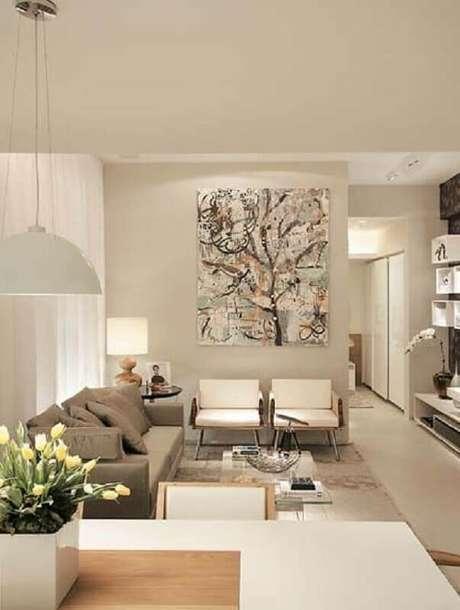 34. Quadro abstrato para decoração de sala sofisticada em cores neutras e claras – Foto: Só Decor