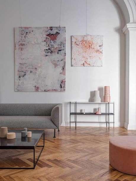 47. Quadros decorativos abstratos para decoração de sala moderna – Foto: Ideias Decor