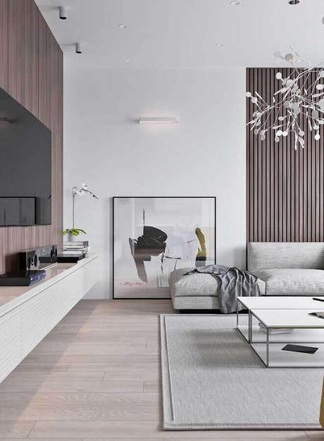 56. Sala cinza decorada com quadro abstrato moderno – Foto: Ideias Decor