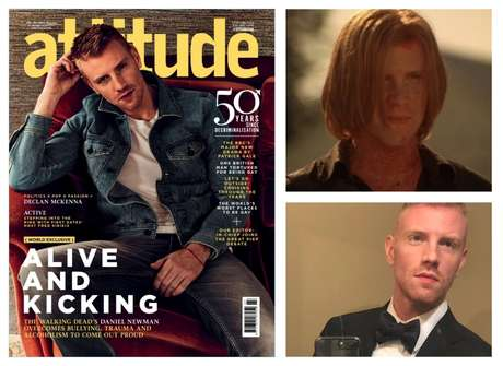 The actor has featured on the cover of the prestigious magazine, the gay british Attitude; to the left, at the beginning of his career in the telefilme Harvest of the Damn (2009), and in the selfie-pre-red-carpet