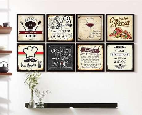 28. Quadros são uma ótima composição decorativa em uma cozinha vintage – Foto: Via Pinterest