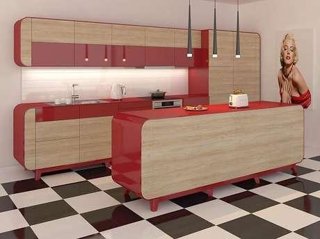 14. Piso xadrez se torna um belo destaque em uma cozinha vintage – Foto: Dicas decor
