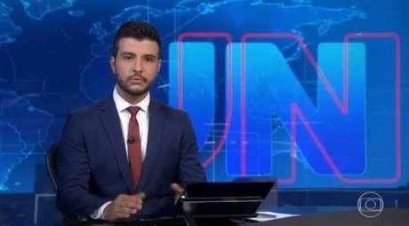 O jornalista Matheus Ribeiro durante apresentação do 'Jornal Nacional', da Globo, em 9 de novembro de 2019.
