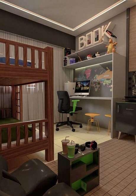 60. Decoração de quarto gamer com bicama e mapa na parede – Foto: Ideias Decor