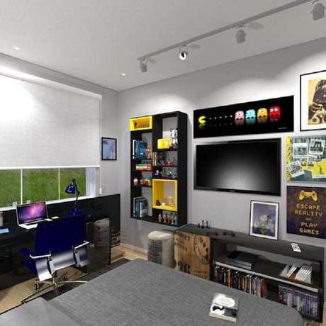 64. Quarto gamer planejado com nichos para organização e trilho de luz – Foto: Home Fashion Trend