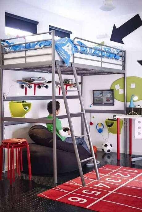 65. Invista na cama suspensa para a decoração de quarto gamer pequeno – Foto: Ideias Decor