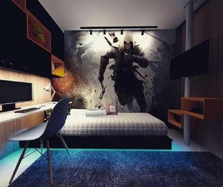3. É muito importante que o quarto gamer tenha um tema pré estabelecido para a decoração – Foto: Alessiana Benevides