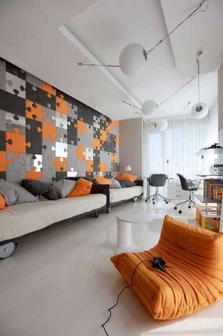 71.Papel de parede para quarto gamer compartilhado bem amplo e moderno – Foto: Yandex