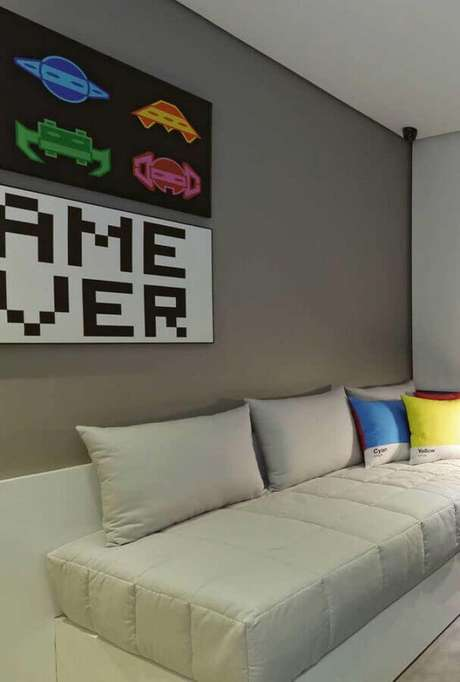 74. Modelos de quadros para quarto gamer decorado – Foto: Ideias Decor
