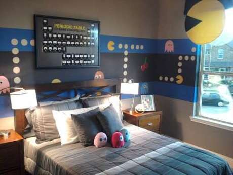 46. Quarto gamer com decoração inspirada no Pacman