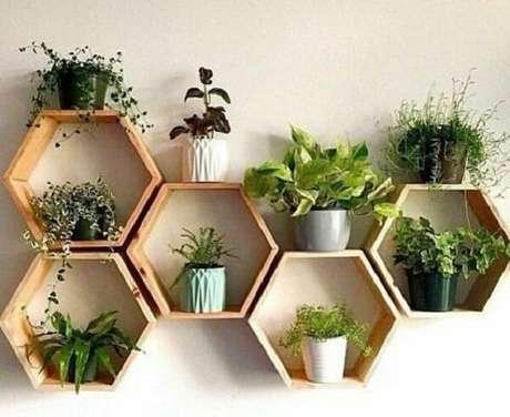13. Um jardim feito com vários nichos hexagonais – Foto: Pinterest