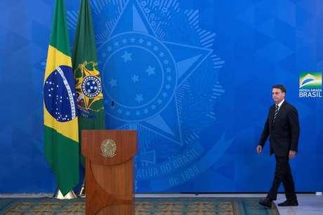 Jair Bolsonaro durante pronunciamento no Palácio do Planalto, em 24 de abril