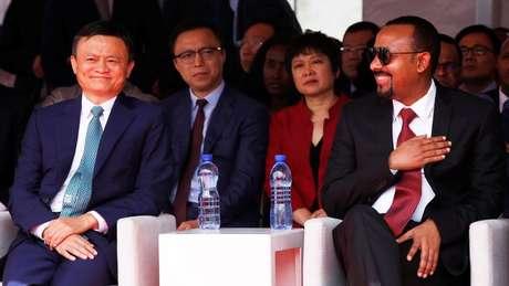 Ma em um evento da Plataforma Mundial do Comércio Eletrônico com o primeiro-ministro da Etiópia Abiy Ahmed no ano passado