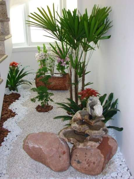 40. Pedras para jardim combinadas com plantas ornamentais em jardim interno. Projeto de Daniela Oliveira