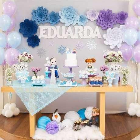 30. Decoração de festa da Frozen como temas de mesversário – Foto: Pinterest