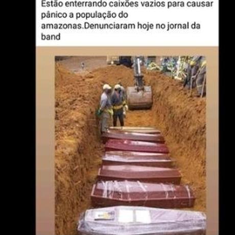 Em publicação de informação falsa no Facebook, homem afirmou que caixões são enterrados vazios