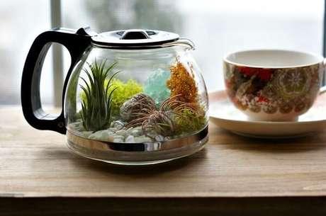 59. Reutilize recipientes de casa para montar seu terrário. Fonte: Pinterest
