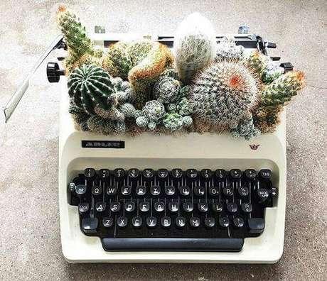 14. Você também pode fazer terrário com itens fora de uso, como uma antiga máquina de escrever.