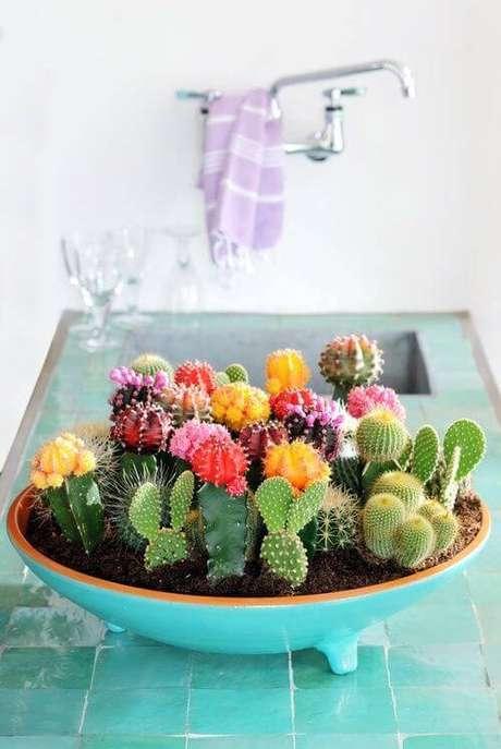 16. O terrário com cactos coloridos dá um charme a mais na cozinha.