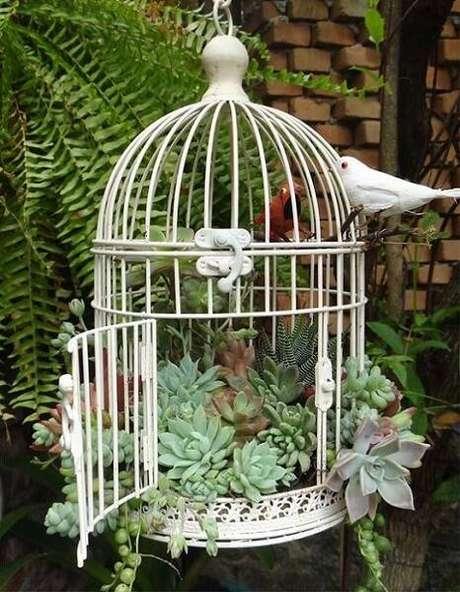 52. Uma gaiola branca com plantas também é uma forma criativa de fazer terrario.