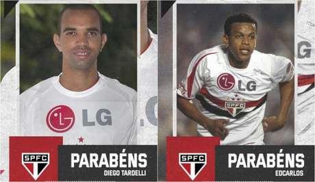 São Paulo parabenizou a dupla de ex-jogadores do clube no aniversário de 35 anos (Foto: Montagem/São Paulo)