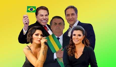 Bolsonaro entre Silvio Santos, Antônia Fontenelle, Mara Maravilha e Luís Ernesto Lacombe: apoio ao presidente gera pesadas críticas aos famosos