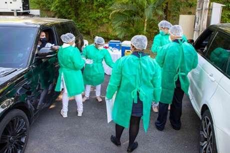 Jogadores, funcionários e comissão técnica foram testados por médicos na Cidade do Galo e três casos são suspeitos de contaminação por Covid-19-(Pedro Souza/Atlético-MG)