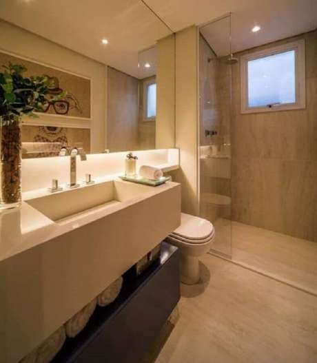 27. Cor de creme para banheiro planejado moderno – Foto: Pinterest