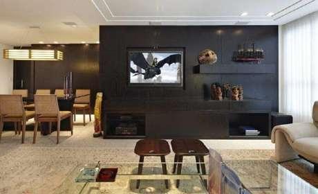 39. A combinação de preto com cor creme garante um toque mais moderno ao ambiente – Foto; Jaqueline Frauches