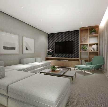 70. Distribua o sofá modular pelo ambiente. Fonte: Michelle Nogueira