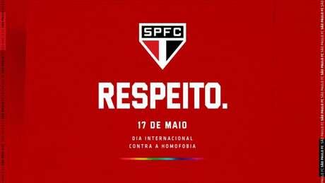 Manifestação do São Paulo contra a homofobia - FOTO: Twitter/São Paulo FC