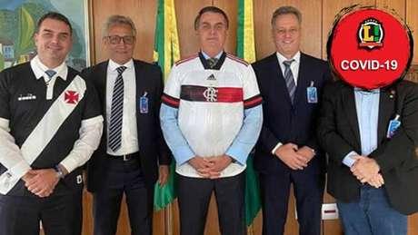 Bolsonaro recebeu os presidentes Alexandre Campello (Vasco) e Rodolfo Landim (Fla) (Foto: Reprodução/Instagram)