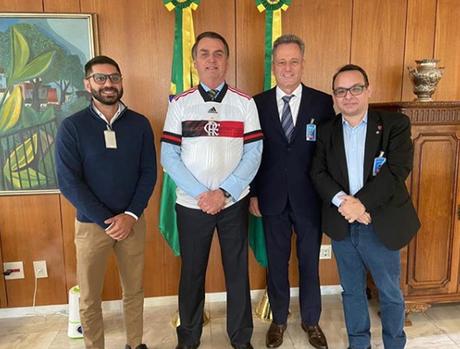 Márcio Tannure, Jair Bolsonaro, Rodolfo Landim e Alexsander Santos (Foto: Reprodução/Instagram)
