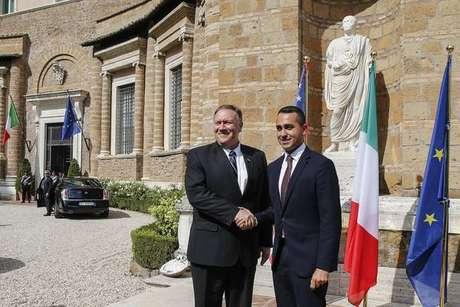 Mike Pompeo e Luigi Di Maio em Roma em outubro passado