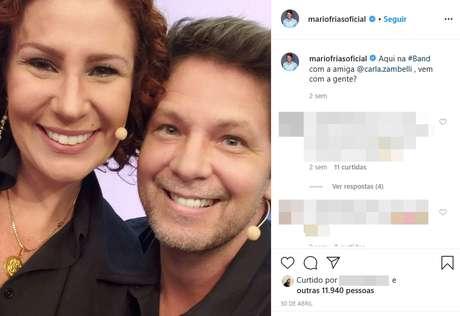 No Instagram, o ator registrou o encontro na Band com sua apoiadora, a deputada federal Carla Zambelli, enérgica aliada de Jair Bolsonaro